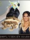 """3st 14-28 """"ombre malaysiska kropps våg jungfru hårförlängningar två tonar 1b / 27 blond 6a remy människahår väva vågiga buntarna"""