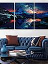 e-FOYER etire conduit art toile d\'impression les montagnes enneigees LED clignotant ensemble de trois d\'impression de fibre optique