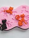 bakeware silikon härlig katt bakformar för chokladkaka gelé (slumpmässiga färger)