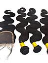 """4st mycket 10 """"-28"""" brasiliansk real hårförlängningar vågigt väva peruk naturligt rakt hår stängning obearbetat remy hår"""