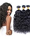 """3st / lot 8 """"-26"""" peruanska virgin hår naturligt svart färg vatten våg obearbetat människohår väva"""