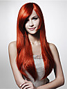 mode röd hög temperatur långt rakt hår silke peruk