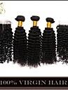 4st mycket mongolian kinky lockigt jungfru hår med nedläggning 3Bundles obearbetat mongoliska människohår väft med spets stängning