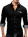 Men\'s Plus Size White/Black/Red Long Sleeve Shirt, Cotton Blend Casual/Work/Formal Pure