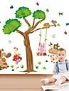stickers muraux de style de decalques muraux de bande dessinee animale swing de pvc autocollants