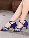 Chaussures de danse (Argent/Or) - Non personnalisable - Talon Large - Suede - Danse latine