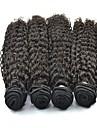 4pcs / lot cheveux bresilienne vierge jerry courbure naturelle de couleur noire # 1b faisceaux de cheveux humains