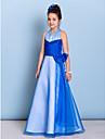 Floor-length Organza / Taffeta Junior Bridesmaid Dress A-line Halter with Beading / Bow(s) / Criss Cross