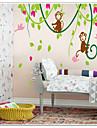 singes jouant avec des oiseaux sur bois de la vigne decalque de mur zooyoo9012 decoratif autocollant amovible mur de pvc