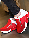 Women\'s Shoes Fabric Wedge Heel Comfort Round Toe Zipper Fashion Sneakers Outdoor/Casual Black/Red