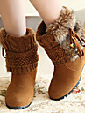 Chaussures Femme - Decontracte - Noir / Marron / Jaune - Talon Compense - Bout Arrondi / Bout Ferme / Bottes a la Mode - Bottes -Faux