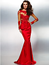 TS Couture® Formal Evening Dress - Ruby Plus Sizes / Petite Trumpet/Mermaid Jewel Sweep/Brush Train Lace / Stretch Satin