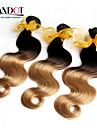"""3st 14-28 """"ombre malaysiska kroppen våg jungfru hårförlängningar två ton 1b / 27 blond 6a remy människohår väv vågiga buntar"""