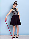 Lanting Bride Knee-length Chiffon / Sequined Junior Bridesmaid Dress A-line Jewel with Sequins