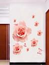 style Stickers muraux autocollants de mur romantique rose fleur mur PVC autocollants