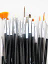 15st svart handtag nail art designs målning teckning penna pensel set&5st 2-vägs utspridda pennverktyget marbleizing