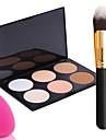 pro part 6 färger möter bronzingpuder makeup palett + puderborste + Power Puff