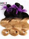 """4st mycket 14-28 """"ombre peruvian_ 2 två ton svart blond 1b / 27 # virgin remy mänskliga hårförlängningar / väva buntar vågigt"""