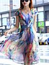 Women\'s Casual Party Micro Elastic Short Sleeve Midi Dress (Chiffon)