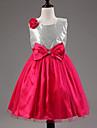 A-line Tea-length Flower Girl Dress - Cotton / Tulle / Sequined / Polyester Sleeveless