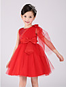 A-line Knee-length Flower Girl Dress - Cotton / Organza Sleeveless Jewel with