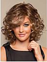 ljus brunmelerad full volym lockar värmebeständigt fibermediet syntetiskt hår peruk snabb leverans