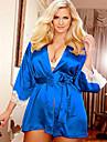 Feminin Babydoll & Slip Pijamale Polyester / Catifea Solid Albastru / Negru