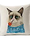 tecknad rökning katt bomull / linne dekorativa kuddöverdrag