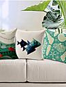 uppsättning av 3 havtema bomull / linne dekorativa örngott