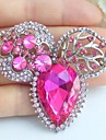 2.36 Inch Silver-tone Pink Rhinestone Crystal Flower Brooch Pendant Art Decorations