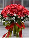 """Flori de Nuntă Rotund Trandafiri Buchete Nuntă Poliester Satin Spumă 11.8""""(Approx.30cm)"""
