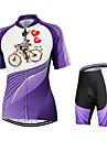Arsuxeo® Maillot et Cuissard de Cyclisme Femme Manches courtes Velo Respirable Sechage rapide Design Anatomique Zipper YKK Poche arriere