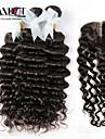 4st mycket indisk vinkar djupt lockigt jungfru hår med stängning 3Bundles obearbetade remy människohår väft med spets stängning