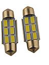 2pcs carking ™ feston 36mm / 39mm 1.2w 6 * 5630smd lumiere blanche 6000k 140ml mene la lampe rome (12V DC)