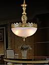 brons hängsmycke två lampor moiré-glas europeiska klassiska 220v