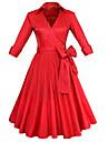 Trapeze Robe Femme Soiree / Cocktail Vintage,Couleur Pleine Col en V Mi-long Manches ¾ Rouge Noir Coton Polyester Printemps EteTaille