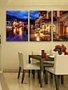 Toile Tendue LED Paysage Classique Realisme,Trois Panneaux Verticale Imprimer Art Decoration murale For Decoration d\'interieur
