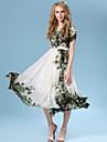 Vestito Da donna Swing Vintage / Da serata / Casual / Da spiaggia Fantasia floreale / Con stampe Medio A V Chiffon