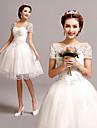 A-라인 웨딩 드레스 숏 / 미니 V-넥 튤 와