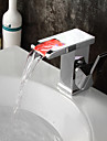 Bathroom Soild Brass Chrome Finish LED Waterfall Square Spout Basin Faucet