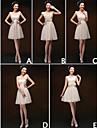 mezclar& vestidos de partido corto / mini vestidos de gasa 5 estilos de dama de honor (3789923)