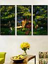 Djur / Landskap Canvastryck Tre paneler Redo att hänga , Vertikal