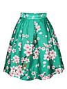 PinkQueen Women\'s Polyester/Spandex  Sakura Printed Retro Pleated Skirt