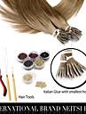 """neitsi® 20 """"1g / s nano ring loop rakt hår 100% mänskliga hårförlängningar 8 # include hår verktyg"""