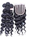 4pcs / lot 10 \'\' - 30 \'\' peruvien cheveux vierges desserrent la vague de fermeture de cheveux avec des trames peruviens faisceaux de