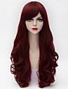 65cm lång naturlig lockigt sidan bang hår mörklila&röda värmebeständiga syntet lolita kvinnor högsta kvalitet peruk