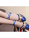 Women\'s Dance Shoes Latin Shoes Modern Shoes Ladies With Adultsof Bottom Ballroom Dancing Shoes And Sandals 5.5cm Heel Heighted / Silver / Blue