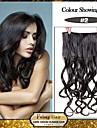 5 clips vågiga mörkbrun (# 2) syntetiskt hår klipp i hårförlängningar för damer fler färger