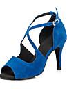 Chaussures de danse(Noir Bleu Rouge) -Non Personnalisables-Talon Aiguille-Flocage-Salsa