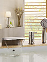 Contemporary Nickel Brushed Three Holes Single Handle Waterfall Bathtub Faucet with Hand Shower